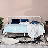 Aingoo Day Bed Metal Single Sofa Bed Frame for Kids Children Adults Fits for 90 * 190 cm Mattress White