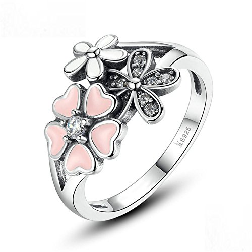 Sterling Pink Flower Poetic Blossom Finger Ring Women Size Jewelry Scr004