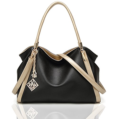 Imported Top Handle Bags - Soft Leather Purse and Handbag for Women Tote Bag Crossbody Shoulder Bag Satchel and Purse (black)