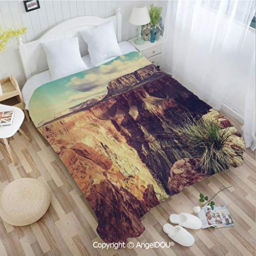 (AngelDOU Warm air Conditioner Flannel Blanket W72 xL78 Exotic Photo of Canyon Rocks Formed Eroding Habita Feature of Geologic Movement for Bed Cover Sofa car use. )