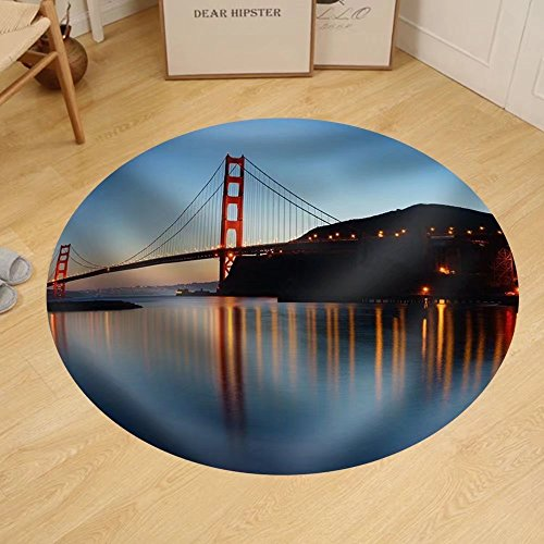 Gzhihine Custom round floor mat Golden Gate Bridge at Twilight. San Francisco - San Store Francisco Outlet