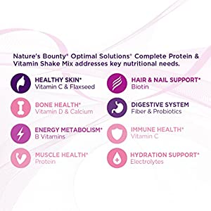 Nature's Bounty Optimal Solutions Protein Shake Vanilla, 16 Ounce Jar, Protein and Vitamin Shake Mix for Women, with Added Nutrients