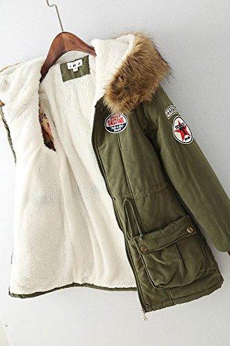 Cappuccio Cotone pelliccia Bestjuly Parka Eco Inverno Donne Abiti Delle Cappotto Imbottito Caldo Armygreen Con anqqgxvY