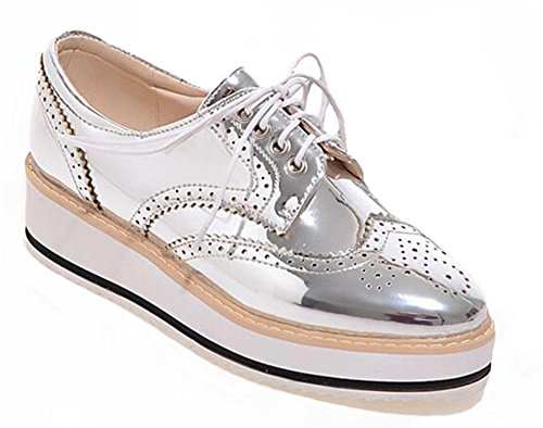 Easemax Womens Chic Lace Up Round Toe Wedge Heel Casual Sneakers Silver owFtvOa