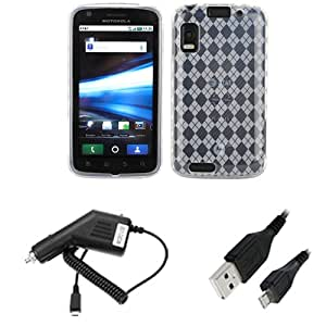 GTMax Clear Checker Soft TPU Gel Case+Micro USB Car Charger+Black 1 Ft Micro USB Sync & Charging Cable For Motorola Atrix 4G MB860 Cell Phone