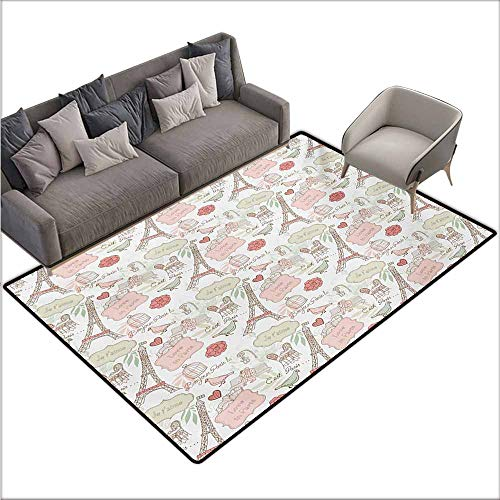 Children's Rugs Playrug Rugs Paris French Pop Culture Lovers in Streets Bonjour Je Taime Flower Pastel Life Image Hard and wear Resistant W70 xL82 Dried Rose -
