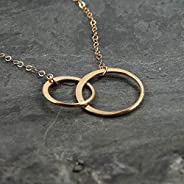 Two Circle Rose Gold Filled Pendant Chain Necklace Jewelry Gift for Best Friends Women 16 Inches