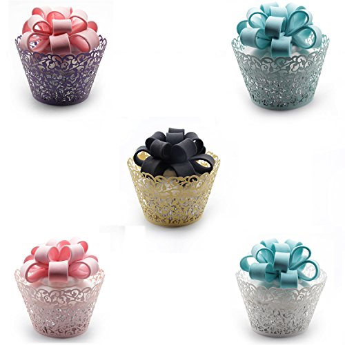 Cupcake Wrappers ,KEIVA 100 Pack Cupcake Wraps in 5 Colors F