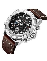 Watches Men Sport Digital Analog Waterproof Multifunctional Military Brown Leather Alarm Stop Wrist Watch