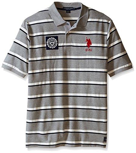 (U.S. Polo Assn. Men's Big-Tall Sporty Tri-Stripe Pique Polo Shirt, Heather Grey, X-Large/Tall)