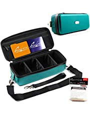Quiver Time Portable Game Card Carrying Cases - Stylish PU Leather Exterior with Double Zipper, Dividers, Wrist Strap & Shoulder Strap | Deck Box Compatible