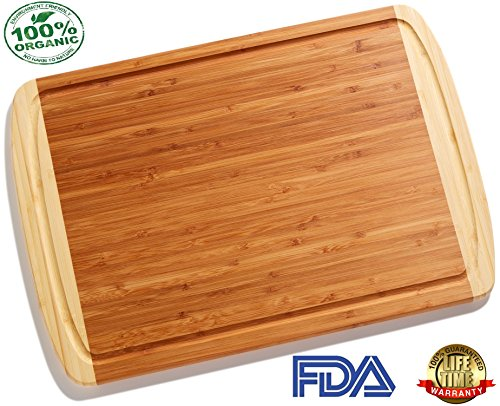 Greener Chef Extra Large Organic Bamboo Cutting Board with NEW CRACK-PREVENTION DESIGN & LIFETIME REPLACEMENT WARRANTY - Best Wood Cutting Boards for Kitchen - Fancy Housewarming Gift or Wedding Gifts