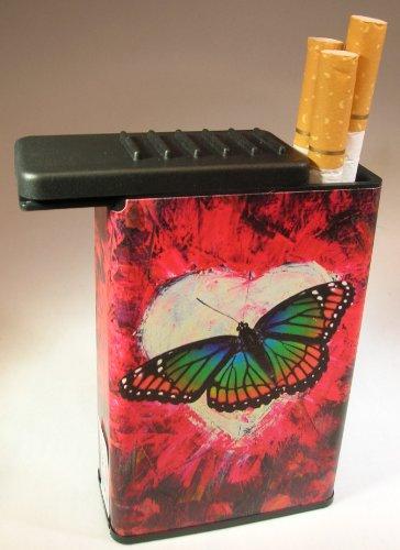 Designer Cigarette Case - Flat Slide Top Cigarette Case Butterfly Heart