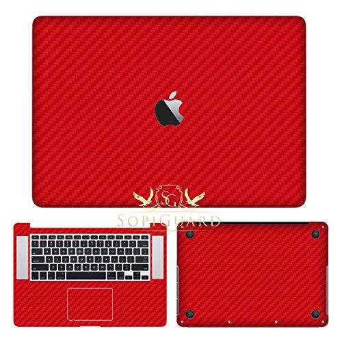 SopiGuard Red Carbon Fiber Precision Edge-to-Edge Coverage Vinyl Sticker Skin for Apple Macbook Pro 15 Retina (A1398) (Carbon Macbook Fiber)