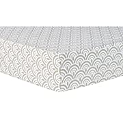 Trend Lab Art Deco Scallop Fitted Crib Sheet, Gray/White