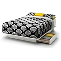 South Shore SoHo Full/Queen Storage Platform Bed Has 2 Storage Drawers Underneath (White)