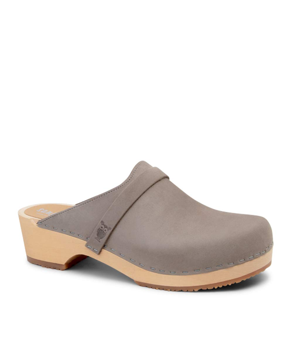 Sandgrens Swedish Wooden Clogs for Men with Leather Upper | Malmö Stone EU 45