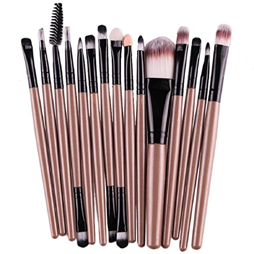 FAPIZI 15 pcs/Sets Eye Shadow Foundation Eyebrow Lip Brush Makeup Brushes Tool (Gold)