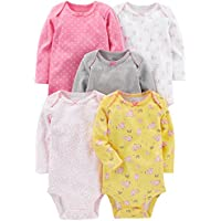 Simple Joys por Carter Baby Girls '5-Pack – Conjunto de manga larga Bodysuit