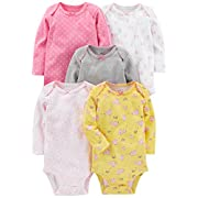 Simple Joys by Carter's Baby Girls' 5-Pack Long-Sleeve Bodysuit, Pink, Gray, White, Yellow, 0-3 Months