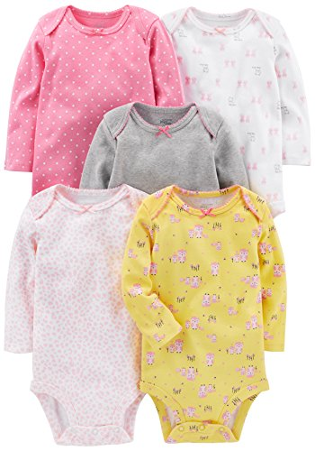 Simple Joys by Carter's Baby Girls 5-Pack Long-Sleeve Bodysuit, Pink, Grey, White, Yellow, 12 Months