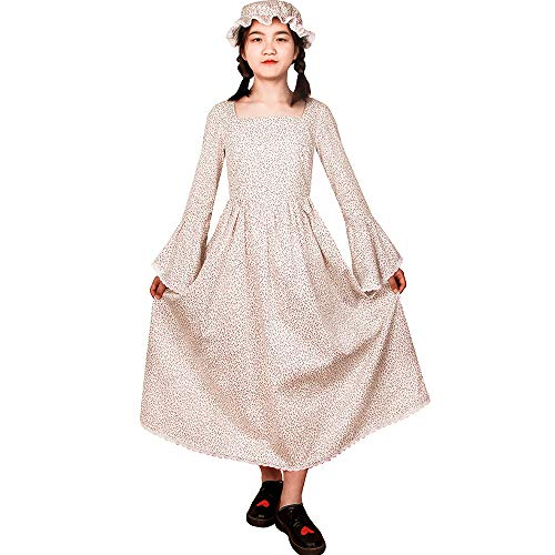 Colonial Pioneer Girl Child Costumes Novelties Pilgrim Prairie Dresses with Bonnet 12 White and Purple