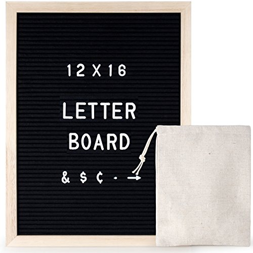 12 x 16 inch Black Felt Changeable Letter Board with 290 Letters, Characters, Numbers, Word Bulletin Board Wooden Message Sign for Menu Or Office Quotes| Wall Mount, with Free Canvas Bag