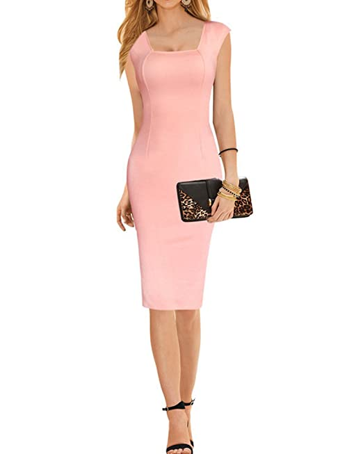SaiDeng Vestido De Sin Manga Sin Tirantes Ajustado Volante Dress Para Fiesta Cóctel Mujer Pink S