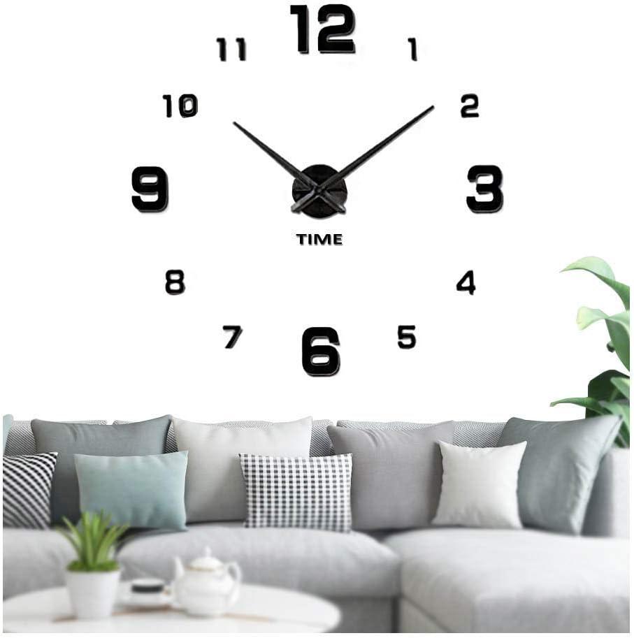 VANGOLD Large Frameless Wall Clock Sticker DIY Wall Clock Kit Home Decoration for Livingroom Bedroom Kitchen