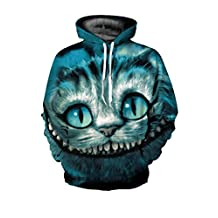 Haloon Unisex Simulation Printed Galaxy Pocket Drawstring Hooded Sweatshirt