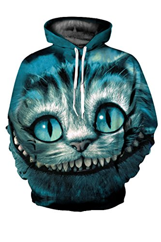 (Haloon Unisex Simulation Printed Galaxy Pocket Drawstring Hooded Sweatshirt Cheshire cat)