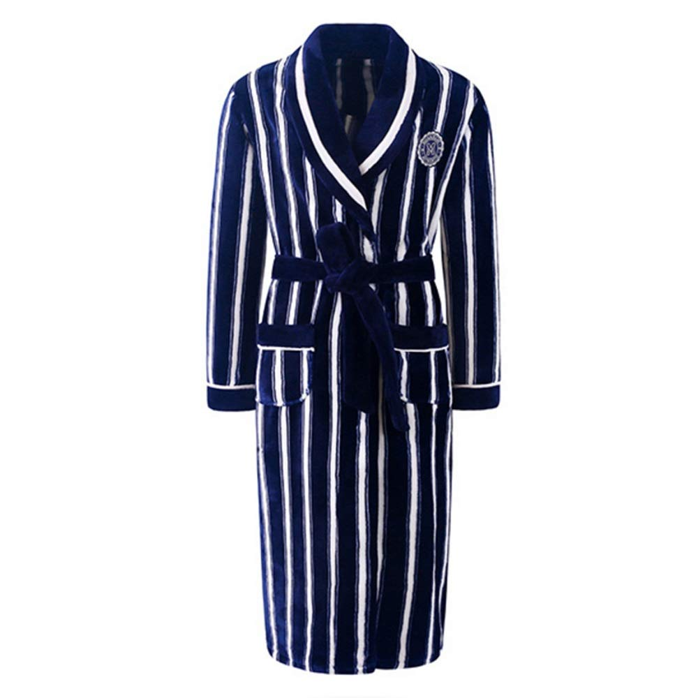 NAN Liang Mens Luxury Nightgown Hooded Bath Robe Women Striped Dressing Large Size Wraps Gown (color   bluee, Size   L)