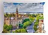 Ambesonne Wanderlust Pillow Sham, Seville Spain Cityscape Towards Plaza De Espana Scenery Monument Daytime, Decorative Standard King Size Printed Pillowcase, 36 X 20 Inches, Green Cream White