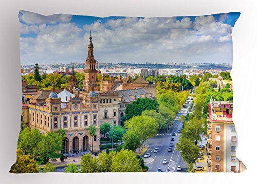 Ambesonne Wanderlust Pillow Sham, Seville Spain Cityscape Towards Plaza De Espana Scenery Monument Daytime, Decorative Standard King Size Printed Pillowcase, 36 X 20 Inches, Green Cream White by Ambesonne