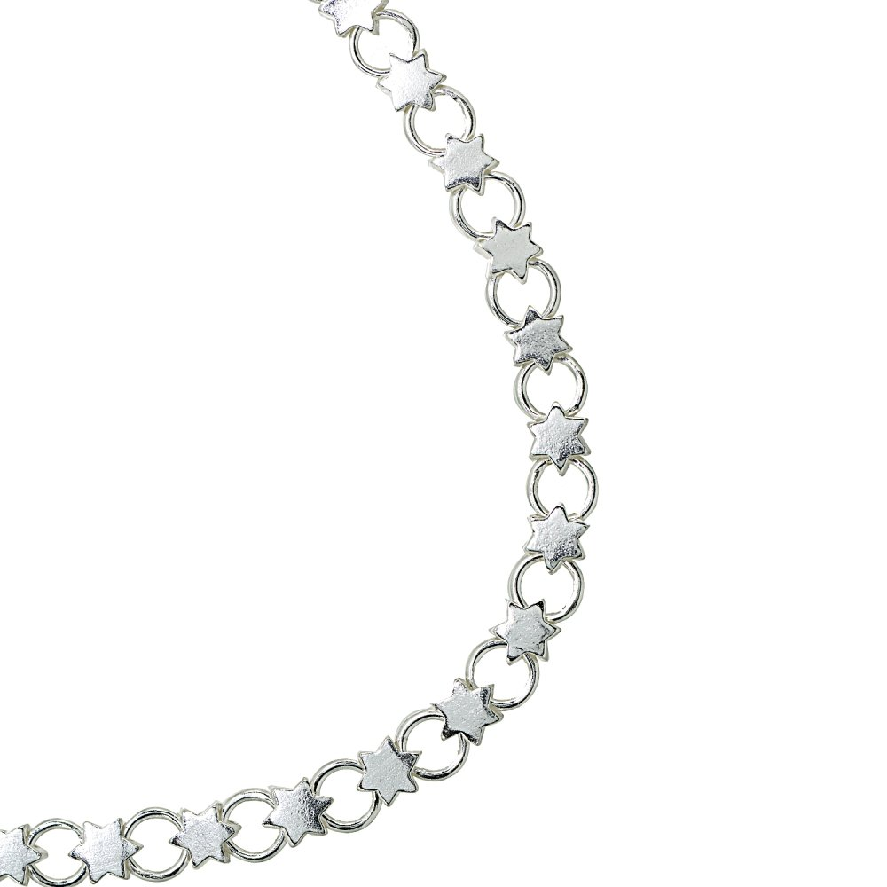 7.25 Inches Sterling Silver High Polished Star and Circle Link Chain Bracelet