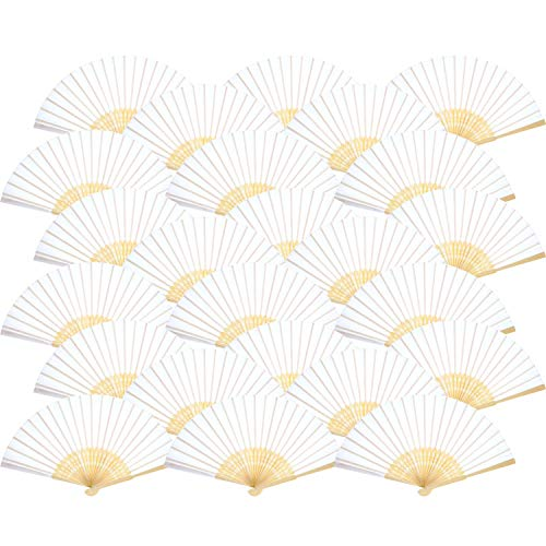 Bememo Hand Held Fans Silk Bamboo Folding Fans Handheld Folded Fan for Church Wedding Gift, Party Favors, DIY Decoration (White, 24 -