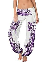 Ingear Smocked Harem Pants Hippie Bohemian Casual Gypsy Print Yoga Baggy Boho