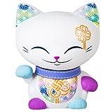 Mani the Lucky Cat Maneki Neko Fortune Cat White - Purple Collar