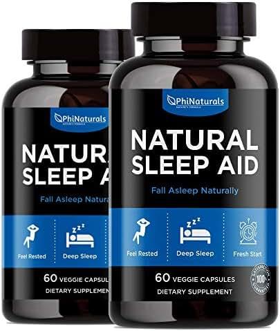Natural Sleep Aid (Pack of 2)   with Melatonin, GABA, Valerian Root, Passion Flower, Skullcap & Chamomile   Sleeping Pills Alternative by Phi Naturals