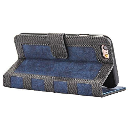 Mobile protection Para el iPhone 6 y 6s Estilo del cuaderno del negocio Golpeó la caja de cuero horizontal del tirón con el sostenedor y las ranuras para tarjeta y el marco de la carpeta y de la foto  Dark blue