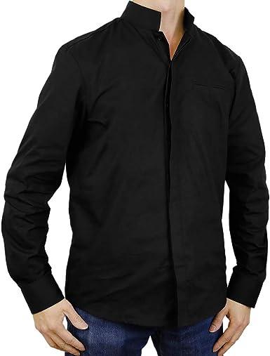 Sinologie - Camisa de Vestir - Cuello Alto - para Hombre Negro S: Amazon.es: Ropa y accesorios