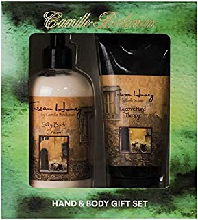 product image for Camille Beckman Hand and Body Duet Set, Silky Body and Glycerine Hand Cream, Tuscan Honey