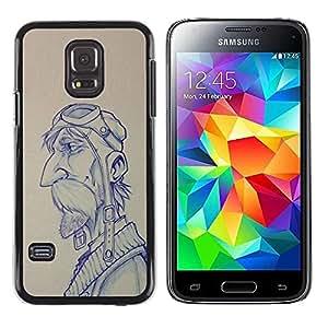Paccase / SLIM PC / Aliminium Casa Carcasa Funda Case Cover para - pilot sketch drawing man moustache - Samsung Galaxy S5 Mini, SM-G800, NOT S5 REGULAR!