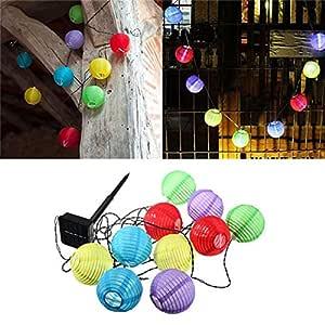 Energía Solar al aire libre luces de cadena, 20LED 15.7Ft farol Solar cadena luces al aire libre luces de globo para fiesta de Navidad Garden Path Patio Decoración, Multicolor