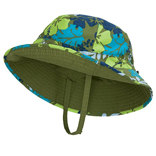 Aloha Baby Boy Sun Hat, Reverses to Olive Green, by Sun Smarties - X-Small