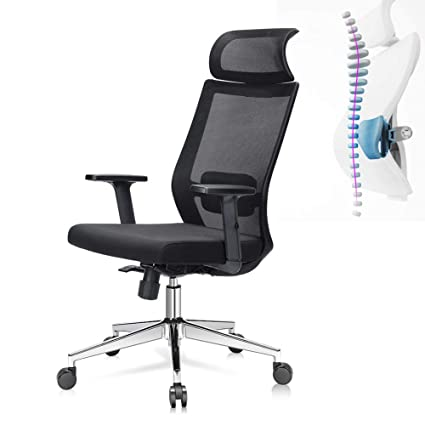 Fine Ej Life Ergonomic Office Chair High Back Mesh Desk Chair With Adjustable Seat Height Tilt Tension Lumbar Support And Wide Headrest Home Interior And Landscaping Ologienasavecom