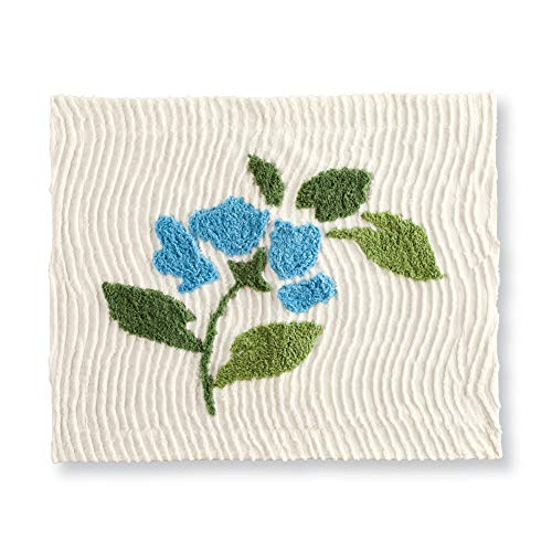 - Sonesta Chenille Tufted Floral Pillow Sham, Ivory Background with Blue Flowers and Greenery - Seasonal Bedding