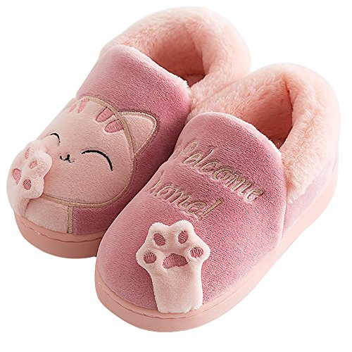 Price comparison product image ChicPro Cute Comfy Kids Toddler Cat Slippers Winter Warm Fuzzy House Shoes Non Slip Slippers