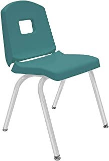 "product image for Creative Colors 1-Pack 16"" Kids Preschool Stackable Split Bucket Chair in Teal with Platinum Silver Frame and Self Leveling Nickel Glide"