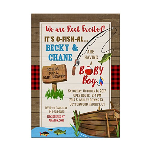 Fishing Baby Shower Invitation, Coed Fishing Baby Shower Invitation, Set of 10 5x7 cardstock invitations with white -